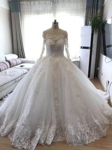 Wholesale Robe de mariage Ball Gown Wedding Dress 2019 Long Sleeves Skin Tulle Wedding Gowns Luxury Beaded Bride Dresses Puffy Vestido de Novia
