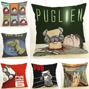 Wholesale Cushion Cover Pugs Cat Dinosaur Linen Pillow Cover Pug Accessories Decor Throw Pillows Sofa Home Decoration Pillowcase