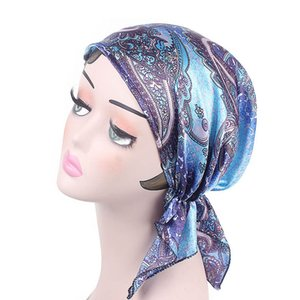 Wholesale Haimeikang Women New Floral Print Chemotherapy Cap Silk Bandana Head Scarf Women Night Sleeping Cap Pre Tied Turban