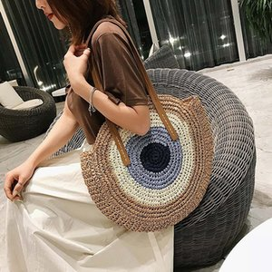 Wholesale LKEEP Hand woven Round Woman s Shoulder Bag Handbag Bohemian Summer Straw Beach Bag Travel Shopping Female Tote Wicker Bags