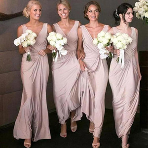 2020 New Elegant Bridesmaid Dresses Deep V Neck Floor Length Chiffon Sleeveless Long Maid Of Honor Formal Dress Wedding Guest on Sale