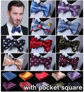 Wholesale Dot Silk Jacquard Woven Men Butterfly Self Bow Tie BowTie Pocket Square Handkerchief Hanky Suit Set EDA