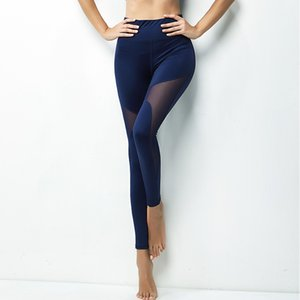 Wholesale Sexy Women Yoga Leggings Tight High Waist Seamless Mesh Stitching Running Pants Ladies Gym Clothes Exercise Fitness Wear Blue Black
