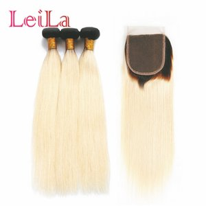 Leila Brazilian Straight Hair 1B 613 Ombre Blonde 3  4 Bundles with Closure Remy Human Hair Bundles Weave with Closure