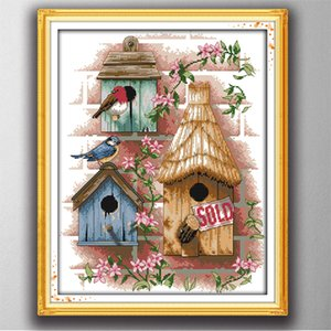 Log cabin home decor paintings ,Handmade Cross Stitch Embroidery Needlework sets counted print on canvas DMC 14CT  11CT