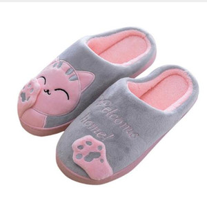Wholesale Women Winter Home Slippers Cartoon Cat Non slip Warm Indoors Bedroom Floor Shoes Plush Slippers Women Faux Fur Slides Flip Flops