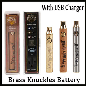 Wholesale Brass Knuckles Vape Battery mAh Gold mAh Wooden Variable Voltage Vape Pen With USB Charger in Gift Box For Thread Vape Cartridges