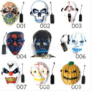 Wholesale Halloween mask LED Scary Masks Skull Masquerade Mask EL Wire Ghost Pumpkin Halloween Dancing Cosplay Party Masks dc803