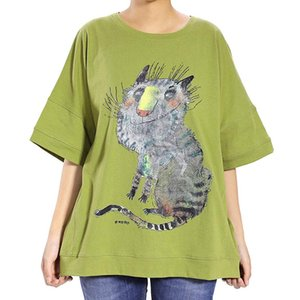 Wholesale 2018 Women Animal Printing Casual Summer Shirt Blouse Round Neck Three Quarter Bat wing Sleeve Loose Female Soft Tops