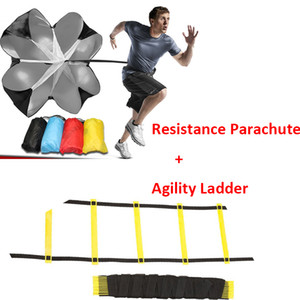 6m 12 Rung Agility Ladder & Resistance Parachute Agility Training Set for Soccer Football Speed Running Training Power Exercise