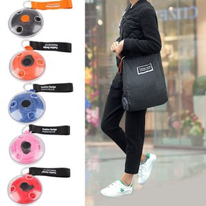 Wholesale Small Disc Portable Tote In Pouch Reusable Folding Eco Shopping Bag Shoudler Bags Organizer with Carabiner Shopping Bag