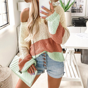 Wholesale winter clothes Women pullover Sexy O Neck Stripe Blouse Sweater Knitwear Patchwork Top femme roupa feminina de inverno