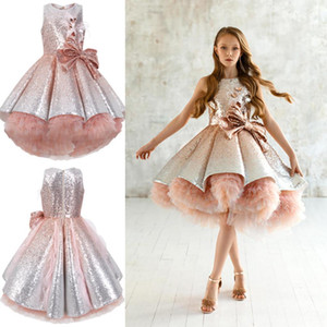 Wholesale Shiny Sequins Flower Girls Dresses Sleeveless Tulle Tiered TuTu Girls Pageant Gowns Gorgeous Puffy Prom Dresses