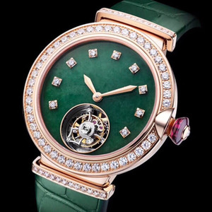 Womens fashion watches steel case green strap automatic mechanical movement sapphire mirror 33 mm ladies diamond dial with watch box A9-1 on Sale