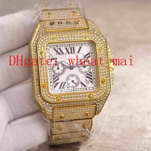 Wholesale Top quality watches for luxurious white faced star studded drilled electroplated K stainless steel bracelet mm men s Watch