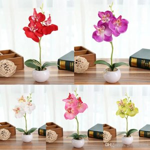 Wholesale orchid potting resale online - 1 Set phalaenopsis potted artificial Silk orchid flower Ceramic Flowerpot simulation flower home Christmas decor bonsai gift