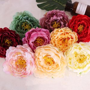 DIY 14CM Artificial Flowers Head Fashion Silk Peony Flower Heads Wedding Party Supplies Simulation Flower Home Decor TTA1809