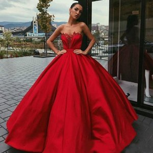 Wholesale 2020 New Arrival Sexy Red Evening Dresses Sweetheart Appliques Satin Sleeveless Floor Length Ball Gown Plus Size Prom Gowns Evening Gowns