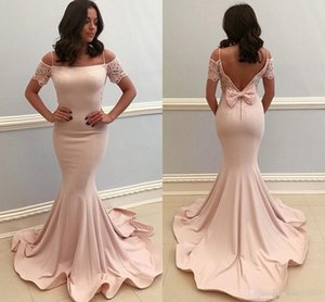 2019 Elegant Mermaid Evening Dresses Spaghetti Lace Bow Backless Prom Princess Party Dress Simple Satin Formal Prom Party Gowns Vestidos on Sale