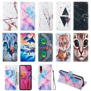3D Marble Stone Leather Wallet Case For Iphone XS MAX XR X 8 7 6 5 Samsung S10 5G S10e Cat Owl Dolphin Ocean Granite Rock Luxury Flip Cover