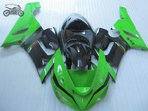 High quality Chinese fairing for Kawasaki Ninja ZX6R 2005 2006 ZX 6R 05 06 green black aftermarket body fairings set