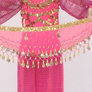 Wholesale Kid s Pieces Chiffon Arabic Belly Dance Scarf Children Coin Belt Hip Scarf Skirt Wrap Strap