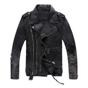 Mens Ripped Denim Jackets With Multi Zippers New Fashion Hi Street Streetwear Distressed Motorcycle Biker Jeans Jacket