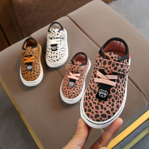 Autumn Leopard Print Girl Small White Children Catamite Soft Bottom Motion Skate Shoes Baby Single