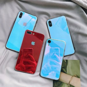 Wholesale Tempered Glass Case For iPhone XS XR X S Plus Gradient Color Blue Ray Aurora Skin Back Cover For iPhone XS Max XS XR Case