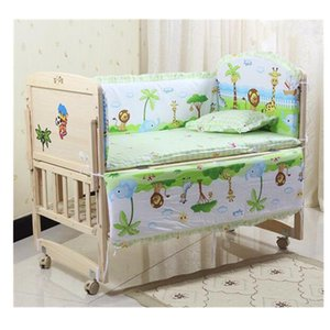 Wholesale 5pcs Monkey Cute Baby Nursery Bedding Set Fit x60cm Cot Cotton Padded Bumper Baby Nursery Bedding Sets Cartoon Cot Bumper
