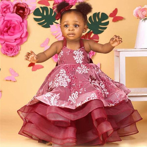 Wholesale Ball Gowns Flower Girls Dresses With Spaghetti Straps Appliques Tiered Organza Kids First Communion Dress Puffy African Kids Birthday Gowns