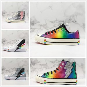 Wholesale Fashion Designer Rainbow Lightning Low High Casual Trainer White Grey Multicolors Sequin Canvas Shoes Men Womans Sports Sneaker