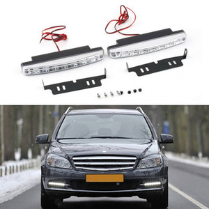 Wholesale 1 Pair DRL LED Car Daytime Running Lights 8 LEDs DC 12V Auto Fog Light Driving Lamps Car-syling Super Bright