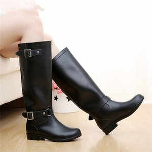 Hot Sale-Punk Style Zipper Tall Boots Women's Pure Color Rain Rubber Water shoes For Female 36-41 Plus size