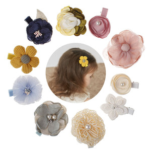 Wholesale New Kids Children Hairpins Barrettes Baby Fabric Bow Flower with pearl Headwear Hair clips Girls Headdress cute lovely Accessories