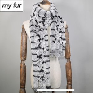 Wholesale New Long Style Women Winter Real Rex Rabbit Fur Scarf Natural Rex Rabbit Fur Scarfs Brand Knitted Rex Rabbit Fur Ring Scarves SH190930