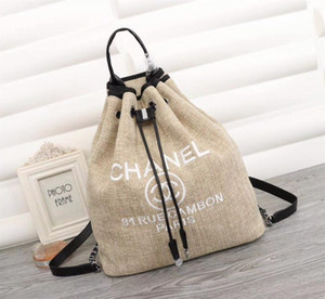 Wholesale Women Backpack High Quality Mens And Women Backpack Beige Denim Cotton And Linen Shoulder Bucket Bag Large capacity Travel Bag
