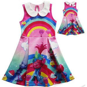 Wholesale Girl Trolls Princess lapel Rainbow dress New Children high quality cartoon trolls sleeveless vest dresses baby kids clothes