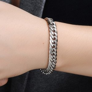 2019 wholesale polishing good quality stainless steel mens bracelet men male cuban link chain on hand man's chain bracelets on Sale