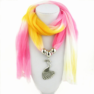 Wholesale New Colorful Rhinestone Alloy Peacock Pendant Bali Yarn Scarf Necklace for Women Fashion Collar Statement Jewelry scarves