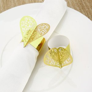 Wholesale 50pcs Creative Heart Shape Laser Cut Paper Napkin Ring for Wedding Party Dinner Table Decoration Napkin Buckle