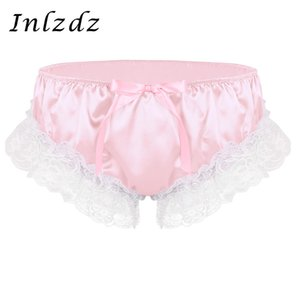 Wholesale Sissy Panties Mens Gay Underwear Shiny Soft Ruffled Floral Lace Satin Lingerie Low Rise Stretchy Sissy Bikini Briefs Underwear