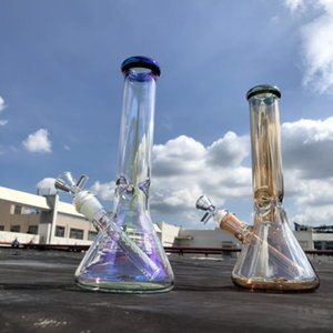 Wholesale smoke bowl resale online - 10 quot thick beaker bong rainbowl smoke gray color tall glass water pipe big straight tube dab oil rig bubbler with downsteam and bowl