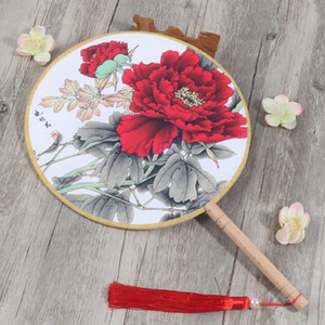Wholesale Antique Chinese Round Handle Silk Fan Dance Costume Decorative Ladies Fan Gift Traditional Craft Fabric Hand Fan