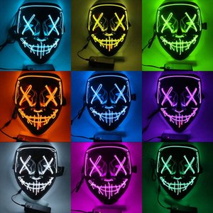Halloween Luminous Mask Glowing LED Mask Scary Skull Face Funny Masks Cosplay Costume Tools Party 10 Colors