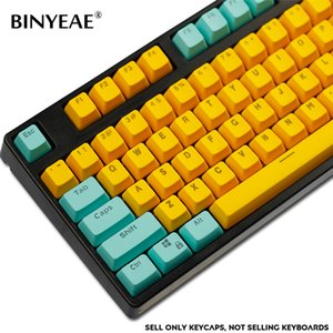 104-Key PBT Backlight Keycap Cute Cyan-Yellow Color ANSI Layout OEM Profile Key Caps for Cherry MX Mechanical Gaming Keyboard