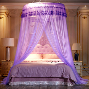 Noble Purple Pink Wedding Round Lace High Density Princess Bed Nets Curtain Dome Queen Canopy Mosquito Nets #sw