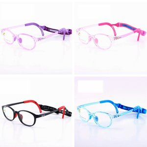 Wholesale Kids Silicone Glasses Fashion Frame Elastic Cord Children Eyewear Frame With Head Band Cord Candy Color Eyeglasses TTA1260