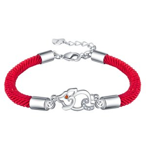 Wholesale Openwork Inlaid Zircon Cute Pig Silver Plated Red Rope Simple Buckle Bracelet