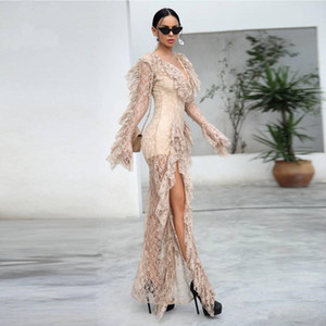 Sexy Lace Deep V-neck Night Clubs Jumpsuit 2019 New Fashion Lack Perspective Rompers Women Long sleeve Jumpsuits Pants Evening Dresses on Sale